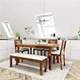 Corazzin Wood Lakewood Sheesham Wood Dining Table 6 Seater | Wooden Dining Room Furniture | 4 Chairs with Cushion and Bench | Natural Honey Finish
