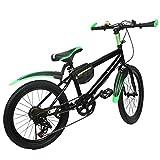 Kinder Jungen Fahrrad Kinderfahrrad Mountainbike City Fahrrad Bike Hartstahl Doppelscheibenbremse 20 Zoll 6 Gang Grün