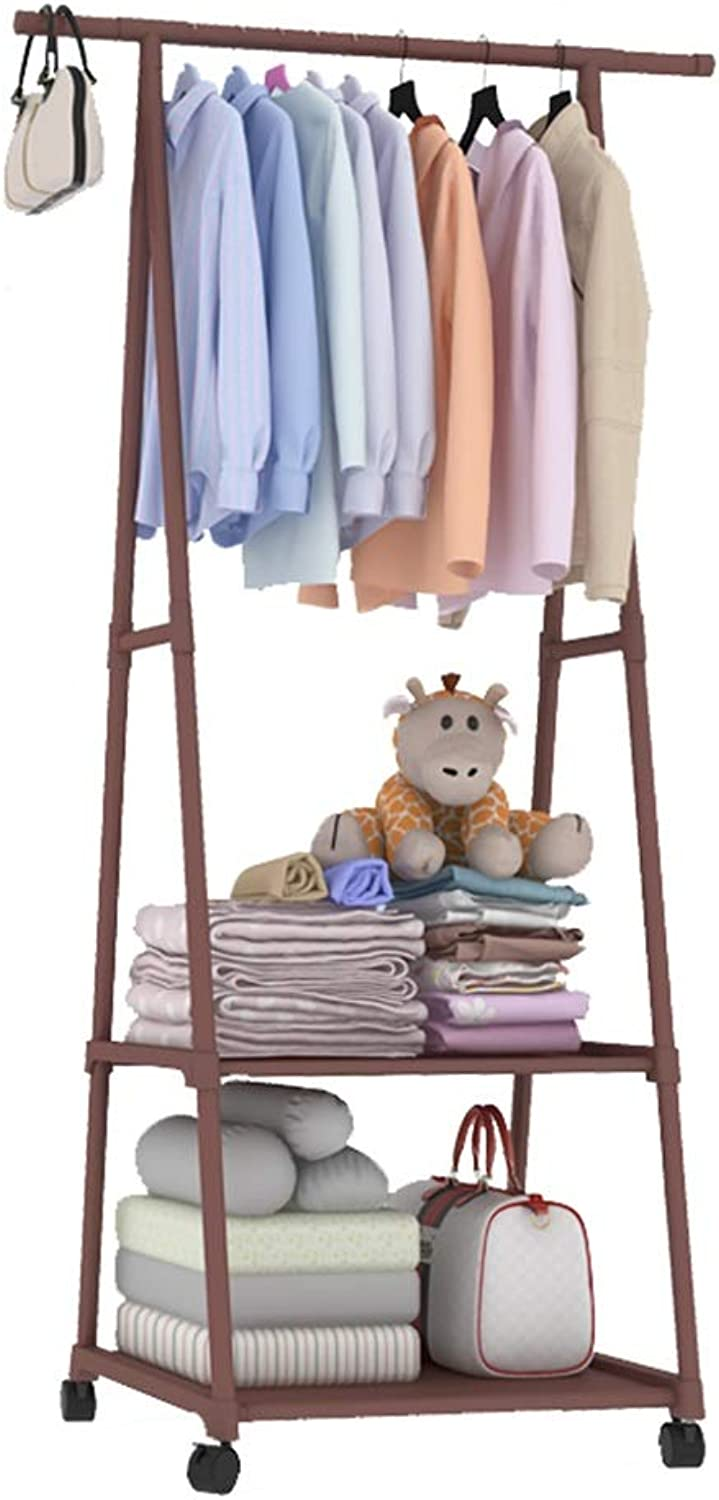 JIAYING Metal Garment Coat Clothes Hanging Heavy Duty Rack with 2-Tier shoes Clothing Storage Organizer Shelves for Hats, Scarves, Clothes (color   Brown)