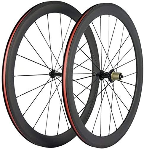 HXJZJ Ruedas de Bicicleta de Carretera 50mm Clincher 23mm Rim Ruedas de Bicicleta de Carbono 100% 700C Juego de Ruedas