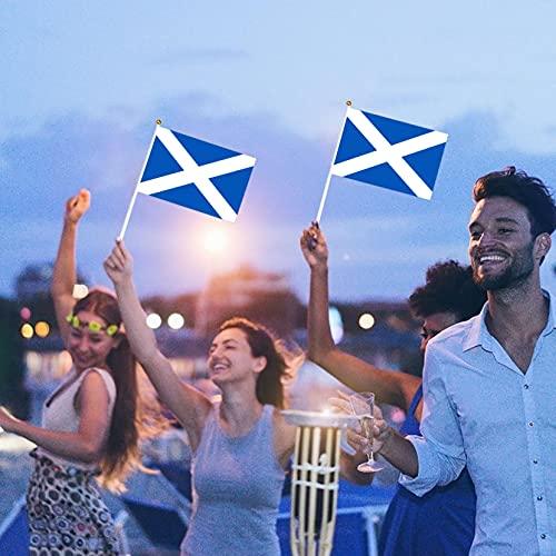 Bandera Escocés Copa de Europa Mini Bandera Pequeña de Mano Bandera Escocesa Copa Mundial Fans Support Mesa Decoraciones (Azul, B)