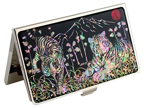 Porte-carte en acier inoxydable avec motif tigre blanc et nacre pour homme Noir
