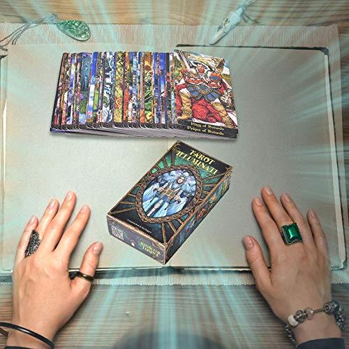 Cokeymove Tarot Illuminati Kit Tarotkarten, 78 Blatt Tarotkarten Und Reiseführer Energie Oracle Karten Deck Divination Kartenspiele Brettspielkarten Für Home-Party-Spiele, Englisch Outstanding