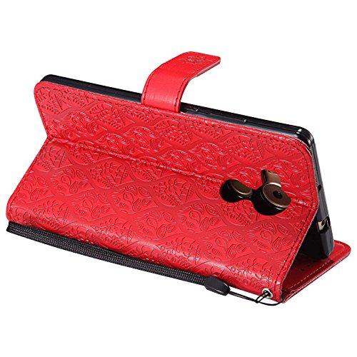 pinlu® PU Leder Tasche Handyhülle Für Huawei Ascend Mate 8 (6zoll) Smartphone Wallet Hülle Mit Standfunktion und Kartenfach Design Rattan Blume Prägung Rot - 4