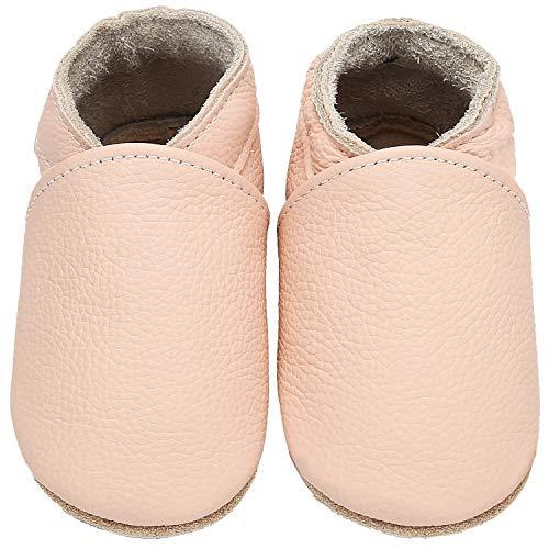 Yavero Leder Krabbelschuhe Leicht Lauflernschuhe Jungen Mädchen Weiche Sohle Baby Hausschuhen Bequem Lederpuschen, Pink 12-18 Monate