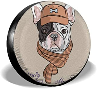ENEVOTX Funny Cartoon Hipster Dog French Bulldog Breed Pattern Apare Tire Cover Wheels Protector Tire Cover Waterproof Uv Sun 14 - 17 Fit for Jeep Trailer Rv SUV and Many Vehicle