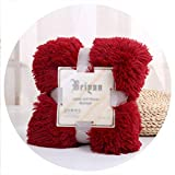 world-palm Luxury Long Shaggy Throw Blanket Bedding Sheet Large Size Warm Soft Thick Fluffy Bed Sofa Sherpa Blankets,Wine,80x120cm