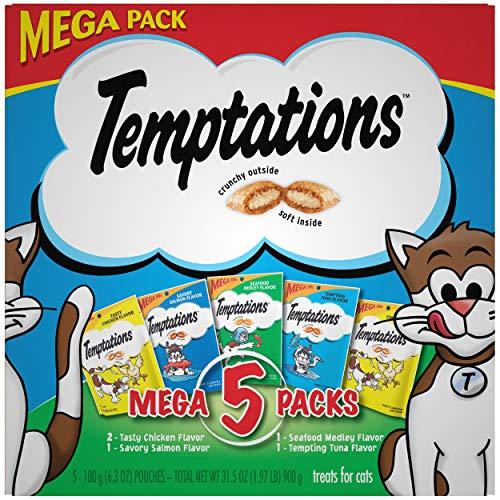 Temptations Whiskas Mega Pack Cat Treats, Assorted Flavors, 6.3 Oz, 5 Pack