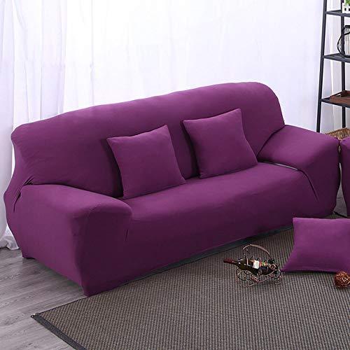 LCDIEB Funda de sofá Fundas elásticas Baratas para sofás Fundas para sofás de Sala de Estar Fundas para sofás seccionales para 1/2/3/4 plazas Color sólido Universal, Morado, 3 plazas 190,230cm