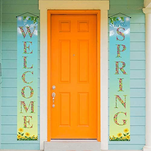 Hello Spring Banner Spring Welcome Porch Sign Spring Party Decoration Outdoor Indoor Front for product image