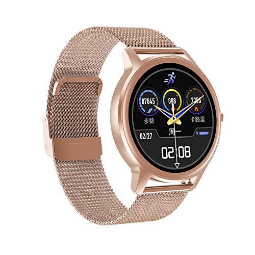 naack smartwatch, Reloj Inteligente Impermeable IP68 Pulsera de Actividad Pulsómetro Monitor de sueño Deportivo Cronómetro Contador de calorias para Mujer Color Dorado iOS y Android
