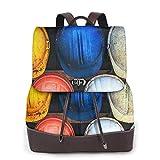 SGSKJ Rucksack Damen Bauhelm farbig, Leder Rucksack Damen 13 Inch Laptop Rucksack Frauen Leder Schultasche Casual Daypack Schulrucksäcke Tasche Schulranzen