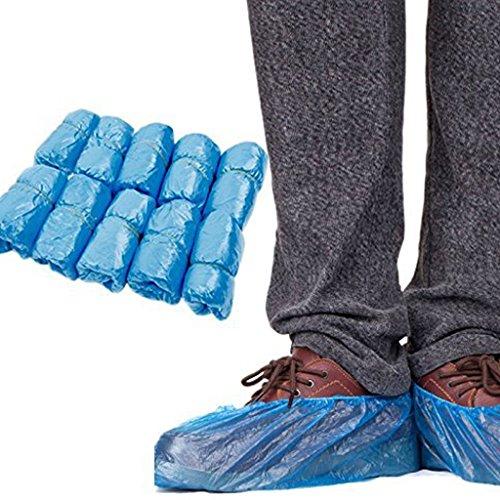 Lifeyz Einweg Kunststoff Überschuhe Überziehschuhe Wasserdicht Schuhtasche Teppich Schutz Bodenschoner Hüllen, blau 100Stück