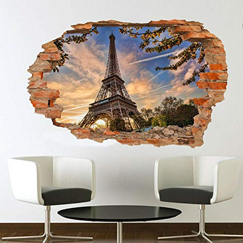 3D Vinilo Calcomanías Francia Paris Torre Eiffel 15.7X23.6 Pulgadas,Etiqueta De La Pared Del Agujero Vinilo Calcomanías Extraíbles Pegatinas Dormitorio Habitación Decorativas.