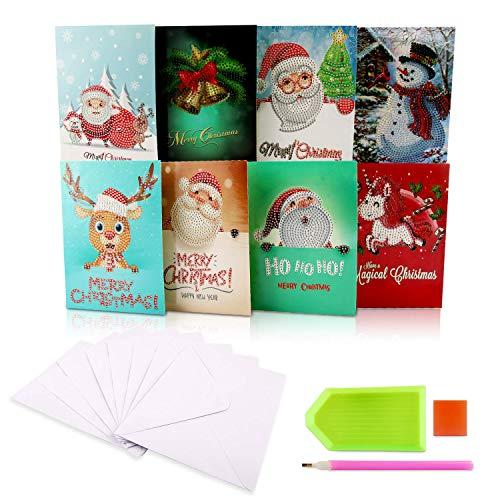 5D DIY Diamant Painting Gruß Karten, 8 Pcs Personalisierte Weihnachtskarten Gruß Karten Handgefertigte Grußkarte Kits Mit Umschlägen, Diamond Painting für Weihnachten Familien