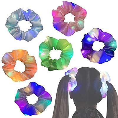 Amazon - 50% Off on Light Up Hair Scrunchies 6 Pcs LED Hair Tie Satin Elastic Bands Three Light