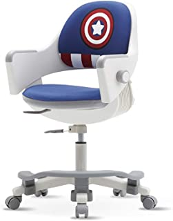 SIDIZ Ringo Kids' Home Study Desk Chair (SN509ACV) with Dual Type Gas Lift, 4-Level Back Adjustment + Footrest Included (PU Leather Blue + Marvel Captain America Cover)