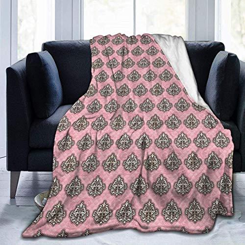 Manta mullida, con flores repetidas y adornos inspirados en rococó, súper suave, manta de forro polar, manta para bebé, dormitorio, cama, TV, manta de 80 x 60 pulgadas