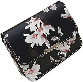 Women Bags, Women Floral Leather Shoulder Bag Satchel Handbag Retro Messenger Bag (Black)