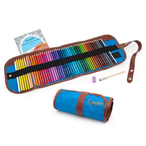 Buntstifte im Rolletui, Auf Öl-Basis, 48 Stücke, Malbuch, ideal zum Zeichnen und Ausmalen, ungiftig, weicher Kern 3,5 mm, Rolletui, Spitzer, Verlängerungsaufsatz… (Blau)