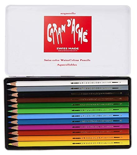 Caran D'ache - Juego de lápices de Watercolor (12 Unidades, Caja metálica) Swisscolor