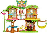 Enchantimals Coffret Maison Café Jungle Enchantée, Mini-poupée Peeki Perroquet, Figurine Animale Sheeny, balançoire et accessoires, jouet enfant, GNC57