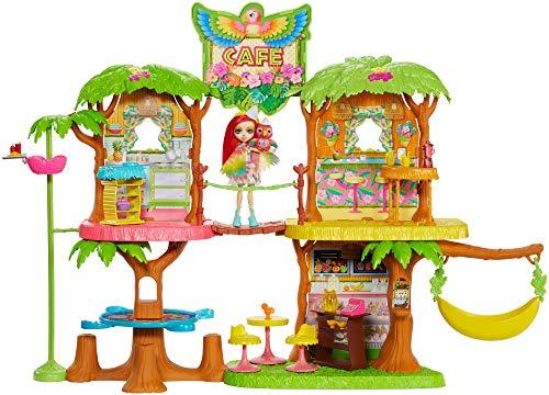 Enchantimals - Cafetería Junglewood con muñeca y mascota Peeki Parrot y accesorios,...