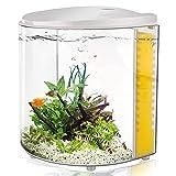 1.2 Gallon Betta Aquarium Starter Kits, Fish Tank with LED Light and Filter Pump White Black (320white)