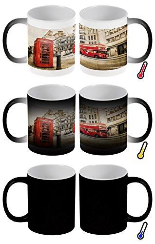 Zaubertasse Farbwechseltasse Kaffeebecher Tasse Becher Latte Cappuccino Espresso Retro Metropole London roter Bus Telefonzelle
