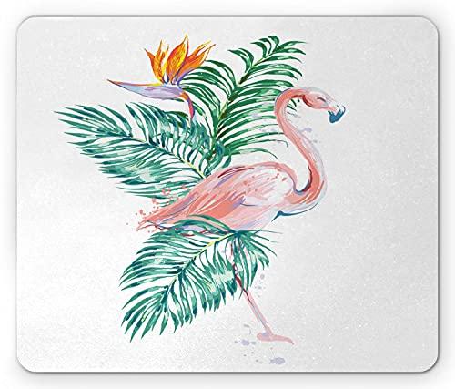 Alfombrilla de ratón con estampado de pájaros, gráfico de flamenco hawaiano de flores tropicales con temática pastel acuarela, alfombrilla de goma rectangular antideslizante, blanco estándar y multico