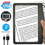 [Rechargeable] 3X Large Ultra Bright LED Page Magnifier with 12 Anti-Glare Dimmable LEDs (More Evenly Lit...