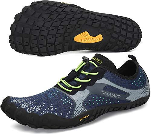 SAGUARO Barfußschuhe Damen Herren Indoor Outdoor Barfuß Traillaufschuhe Wanderschuhe rutschfest Kletterschuhe Leicht Fünf-Finger-Schuhe Strandschuhe(Blau, 42 EU)