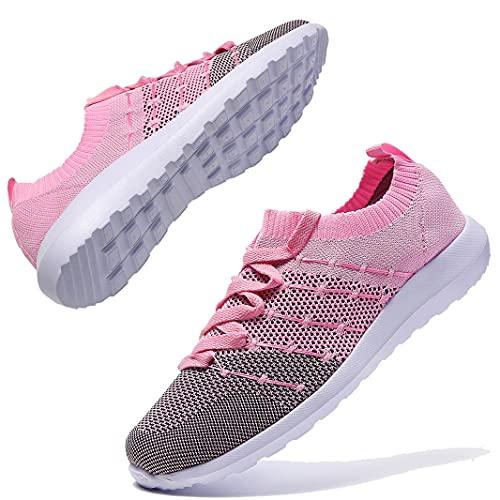 Zapatillas de deporte para mujer, ligeras, transpirables, para correr, para el tiempo libre, fitness, caminar, correr, etc., color Rosa, talla 41 EU