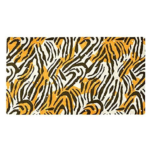 GORDESC Alfombrillas de baño originales (39,8 x 70,9 cm), diseño de cebra leopardo Anmail textura impresión adultos y niños, bañeras suaves y sin textura