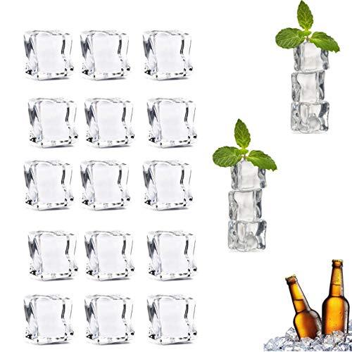 Künstliche Acryl Eiswürfel,Yueser klar aus Kunststoff Wiederverwendbar Eiswürfelform,Künstliche Ice Cube für Fotografie Requisiten Dekorative Fake Ice Cubes(100PCS)
