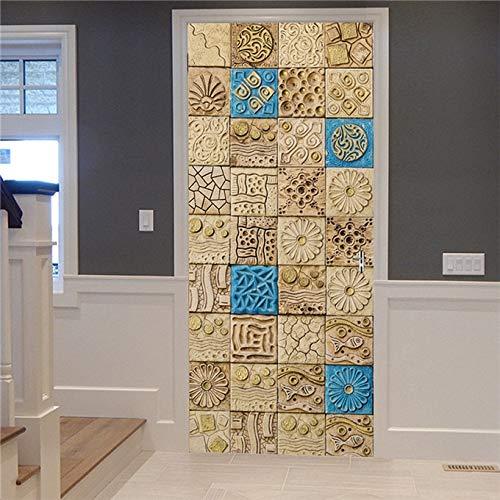 DFKJ Etiqueta engomada de la Puerta del azulejo 3D decoración del hogar Mural Autoadhesivo Cartel Retro cerámica calcomanía Pegatinas Porte Puertas Papel Tapiz A16 77x200cm