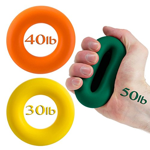 Iron Crush Best Hand Grip Strengthener, A Forearm Wrist & Finger Exerciser, Set of 3 Level Resistance, 2 Year Warranty, Perfect Trainer 4 Rehabilitation & Athletes, The Grippers U R Looking 4!