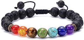 GelConnie Lava Rock Chakra Bracelet 7 Chakra 8mm Natural Stone Healing Bracelet Stress Relief Yoga Beads Anxiety Bracelet ...