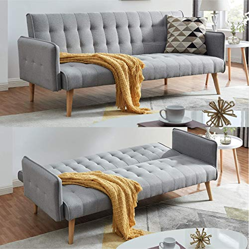 Scandi Scandinavian Style Chic Contemporary Light Charcoal Comfortable Three Seater Sofa Furniture Folding Click Clack Sofa Bed Fabric Cushions Settee Couch Solid Wooden Feet Fashionable Piping Detail
