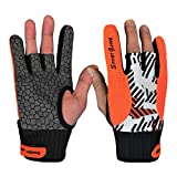 Dou7ble Li Unisex Bowling Gloves Professional Silicone Anti-Skid Wrist Support for Sports Fitness Gym (Orange, L)