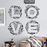 Simple moderne littéraire peint à la main chambre chevet décorations stickers muraux fleurs romantiques anglais alphabet auto-adhésif peinture 60X90 cm
