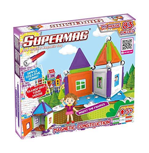 Supermag, Linea MyHouse, Gioco Educativo a Sistema Modulare Con Costruzioni Magnetiche per Bambini, Colori Assortiti, 83 Pezzi, Età 5+