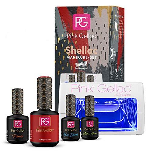 Pink Gellac Starter Set LED M Nagellack Shellac 109 Lipstick Red Rot Pink 15 ml + Primer 15 ml + Base Coat Extend 15 ml + Top Coat Ultra Shine 15 ml