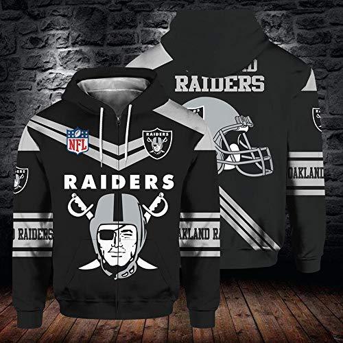 XTD Hoodiepullover 3D-Zipper-Sweatshirt -NFL Oakland Raiders Mit Kapuze Baseball Uniform Frühling Herbst Casual Langarm-T-Shirt Pullover Jacken-Mantel-Top - Geeignet Für Unisex A-XXXL