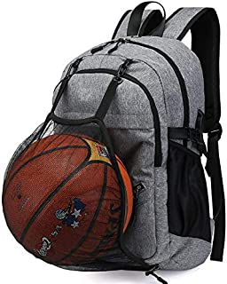 Basketball Backpack Bag for Laptop ,Sports Soccer with Ball Compartment,Gray