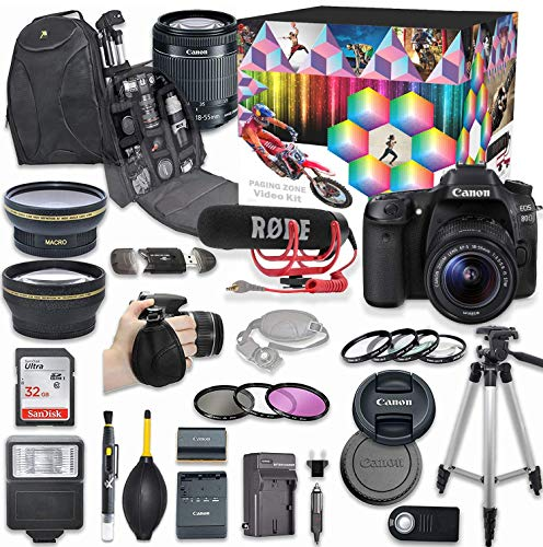 Canon EOS 80D DSLR Camera Deluxe Video Kit with Canon EF-S 18-55mm f/3.5-5.6 is STM Lens + Rode VIDEOMIC GO Microphone + SanDisk 32GB SD Memory Card + Accessory Bundle