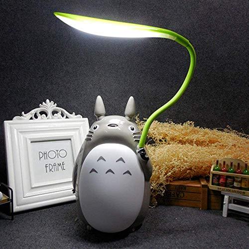 Totoro Anime LED-Nachtlicht Kinder-Charakter-Lampe, USB Aufladung, Schreibtisch-Nachttisch-Leselampe,Whitebelly