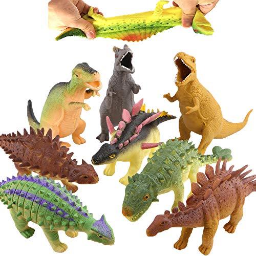 Dinosaurio de Goma de 8 pulgadas ( 8 Paguetes), con Bolsa de Regalo y Tarjeta de recursos de Aprendizaje - Juguete Blando de Figuras de Dinosaurio del Mundo Zoológico,Niños y Favoritos de Fiesta