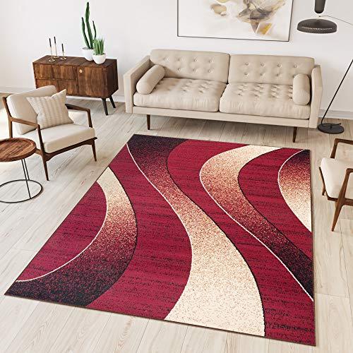 TAPISO Dream Tappeto Camera Soggiorno Salotto Moderno Rosso Crema Astratto Onde A Pelo Corto 140 x 200 cm