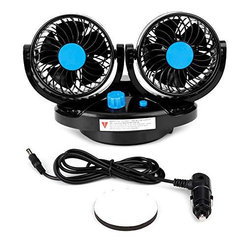 Elektrische ventilator 12V auto dubbele kop 360 ° draaibare dashboard airconditioningventilator